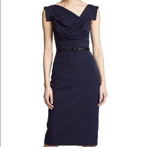 Jackie O dress draped neckline tab sleeve Navy